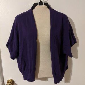 Woman Within Purple Light Sweater Cardigan Shrug